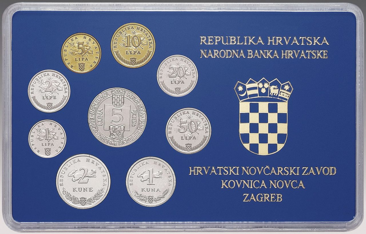 Numismatic Set of Commemorative Kuna and Lipa Circulation Coins, Issues 1994-1996