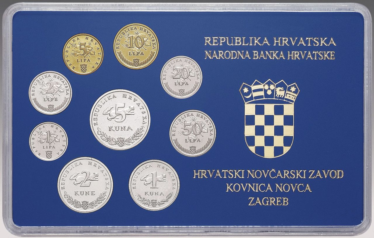 Numismatic sets of kuna and lipa coins in circulation